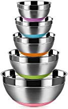Stainless Steel Mixing Bowls (Set of 5), Non Slip Colorful Silicone Bottom Nesting Storage Bowls by Regiller, Polished Mirror Finish For Healthy Meal Mixing and Prepping 1.5-2 - 2.5-3.5 - 7QT