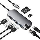 Xflelectronic Concentrador USB C, Adaptador USB C 8 en 1 Estación de Acoplamiento USB C Dongle multipuerto con 4K USB C a HDMI, Carga USB C, Gigabit Ethernet, 3 USB 3.0, Lector de Tarjetas SD/TF