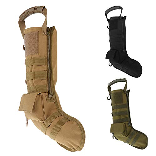 LIVIQILY Tactical Christmas Stocking Backpacks Decoration Ruck-up Hanging Hunting Storage Molle Pouch Bag Accessories (Tan)