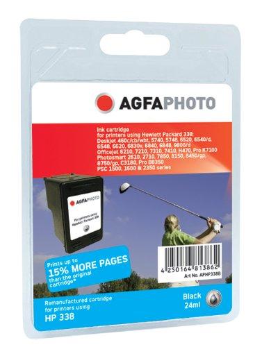 AgfaPhoto Tintenpatrone schwarz kompatibel zu HP338 (C8765EE) geeignet für HP Deskjet 5740/6520/6540
