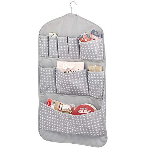mDesign ophangkast – dubbelzijdige wandorganizer met 11 vakken – opbergvakken voor inpakpapier en geschenkaccessoires – grijs