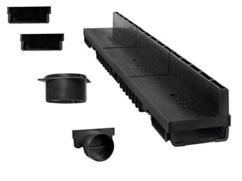 Caniveau à fente 5 m (kit complet) | plastique noir classe B125 | Type 20 (caniveaux)