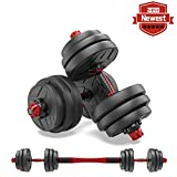 shanchar Adjustable Weights Dumbbells Set,Free Weights Dumbbells Set for Men and Women with Connecting Rod Can Be Used As Barbell for Home Gym Work Out Training 20KG/44Lbs (2Pair)