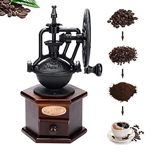 Vintage Manuelle Kaffeemühle aus Holz Victop Handkaffeemühle Kaffeemühle Einstellbare Grobgangeinstellung mit Keramikgraten Auffangschublade Perfekt für Tropfkaffee Espresso French Press