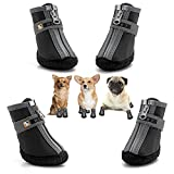 Jzxoiva Dog Booties Waterproof Dog Walking Shoes Dog Boot for Small Medium Dogs, Puppy Shoes for Hot Pavement 4PCS