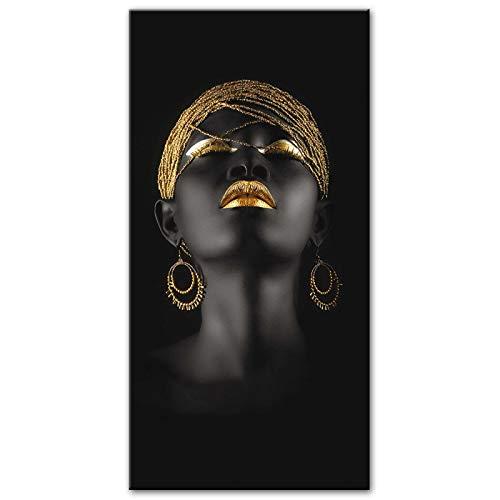 Domrx Pinturas de Mujeres africanas Impresiones de Arte Chica Negra con Pendientes Dorados Cuadros de Arte Decoración de la Pared del hogar 30x60cm / 11.8'x23.6 sin Marco