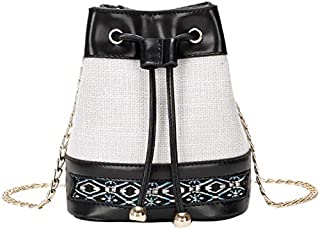 TOOGOO New Wave Fashion Messenger Bag Wild National Wind Female Bucket Bag Chain Shoulder Bag Khaki