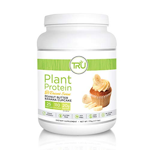 TRU Plant Based Protein Powder, Natural Flavor, Vegan & Keto Friendly, No Artificial Sweeteners, No Dairy, No Soy, 25 Servings (Peanut Butter Banana Cupcake)