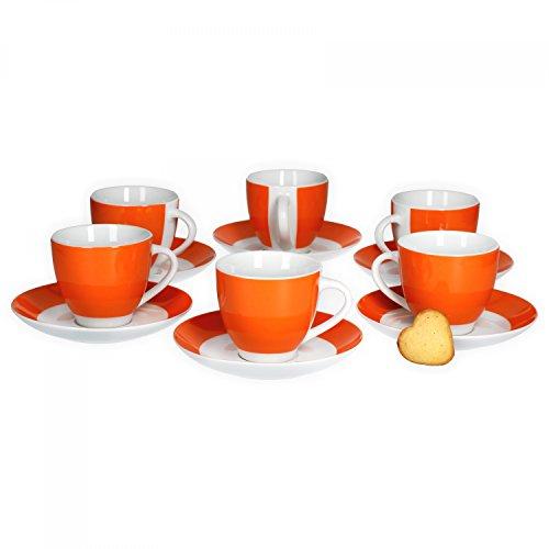 Van Well 6er Set Kaffeetasse mit Untertasse Serie Vario Porzellan - Farbe wählbar, Farbe:orange