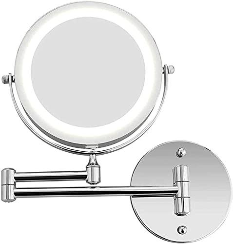 CHLDDHC Espejo de afeitar, 10 aumentos, doble cara, plegable, LED, espejo de baño retráctil, giratorio 360 °, con iluminación giratoria, alimentado por 4 pilas AAA/USB