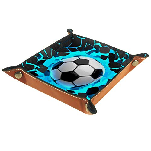 YATELI Caja de Almacenamiento pequeña, Bandeja de Valet para Hombre,Fútbol de Deportes de Pared Abstracta,Organizador de Cuero para Llaves de Caja de Monedas