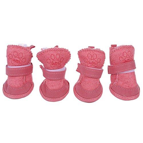 TOOGOO(R) Pink nicht Beleg Sole Klett Booties Haustier Hund Chihuahua Schuhe Stiefel 2 Paar XS