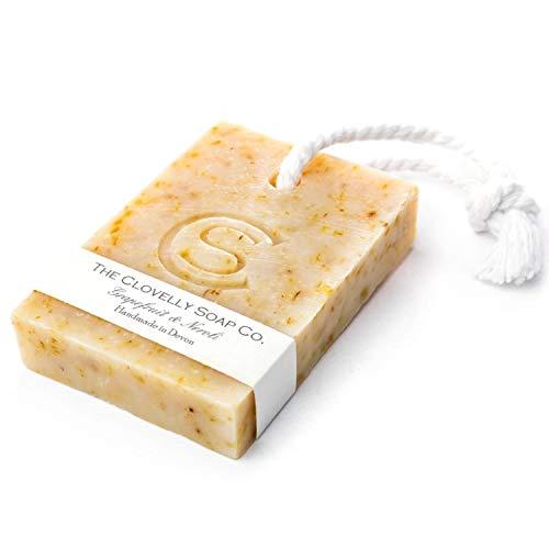 Clovelly Soap Co Natürliche handgemachte Seife Grapefruit & Neroli mit Schnur für alle Hauttypen 100g