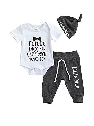 WangsCanis Toddler Boy - Conjunto de 3 pelele de manga corta para bebé, pantalones con tirantes, chándal corto, pantalones, gorro, día de la madre, pijama blanco 2 0-3 Meses