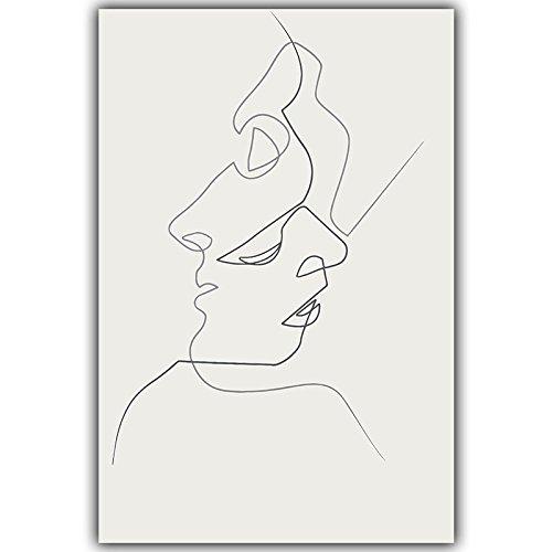 HY&GG Picasso Einfache Linie Kurve Schwarz Weiß Abstrakt Leinwand Gemälde Kunstdruck Poster Bild Wanddekoration Moderne Wohnkultur, 70 X 100 Cm Ohne Rahmen, 3 Kiss