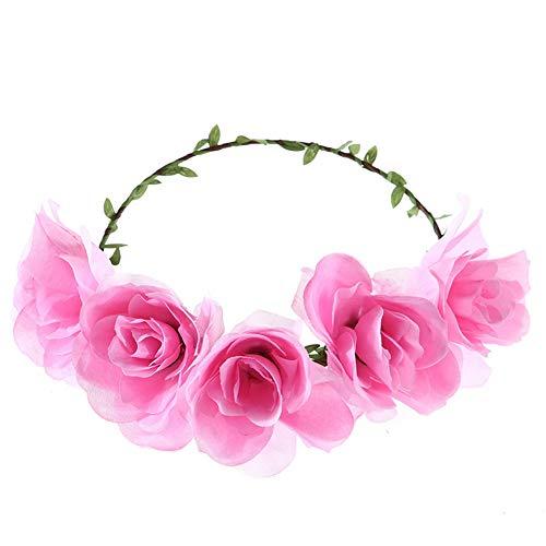 Yazilind Blume Krone Frauen Blume Festival Hochzeit Beach Party Haar Kranz Blumen Stirnband Haarschmuck Rosa
