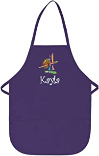My Little Doc Personalized Purple Kids Art Smock Apron with Palette Embroidery Design Poly/Cotton Twill Fabric Regular