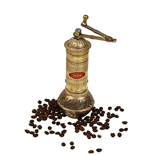"""7.6"""" Handmade Hand Crafted Hammered Manual Brass Coffee Mill Grinder Sozen, Portable Conical Burr Coffee Mill, Portable Hand Crank Turkish Coffee Grinder"""