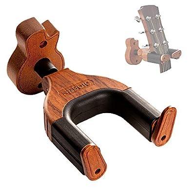 Neboic Guitar Wall Mount, Auto Lock Guitar Wall Hanger, Hard Wood Base in Guitar Shape Guitar Hook, Guitar Holder, Acoustic, Electric, Classical, Bass Guitar Stand?Guitar Accessories