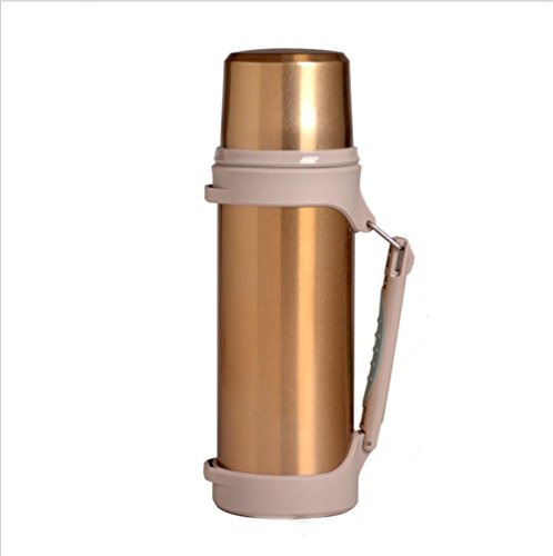 Z&HX sportsBouteille Isol¨¦e Voiture Ext¨¦Rieure Acier Inoxydable Grande Capacit¨¦ Isolation Cup M¨¦nage Portable Travel Kettle, Gold, 1.2L