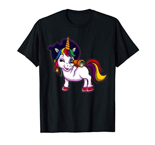 Lindo Jolly Roger Unicornio Pirata Halloween Niñas Regalo Camiseta