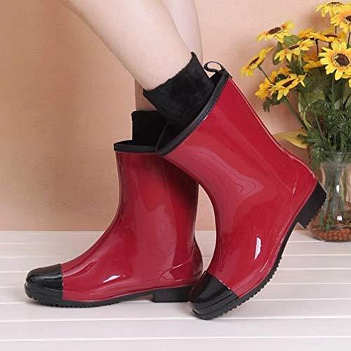 Red Plus Elektrische regenlaarzen voor dames, fluweel, voor elektrische regenlaarzen zijn eenvoudig modieus, waterdicht, retro gollibob wild, slijtvaste regenlaarzen, damesschoenen, wass