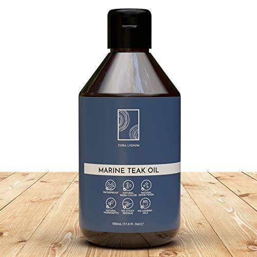 Marine Teakholzöl 500 ml von CURA LIGNUM, für langlebiges, glänzendes Holz, vegan, biologisch, recycled, Made in Germany, ohne Zusatzstoffe, wetterbeständig, zur Pflege & Wiederaufbereitung von Holz