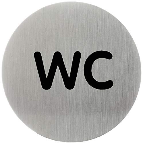 Durable 490623 - Pittogramma Tondo, Adesivo, con Scritta Serigrafata WC, Acciaio Inossidabile, Diametro 83 mm, Argento Metallizzato