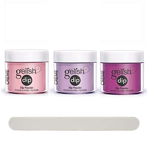 Gelish Professional Quality Nail Dip Powder Set of 3 Colors with Free Nail File - Pink & Purple Collection