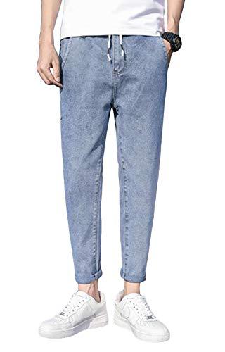 (BaLuoTe)ワイドパンツ メンズ デニムパンツ 春秋 九分 ズボン ゆったり ジーンズ メンズ ズボン ワイド パンツブルーT3