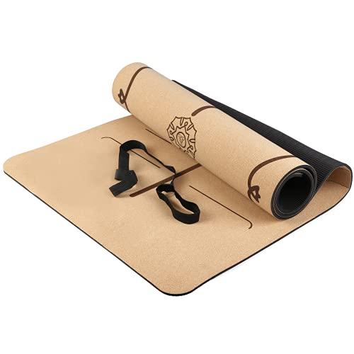 Yogamatte Aus Kork und Kautschuk, Rutschfeste Gymnastikmatte mit Hervorragendem Grip, Natürlich und Umweltfreundlich, Leicht zu tragen, Eine Größe von 183 x 66 x 0,7 cm