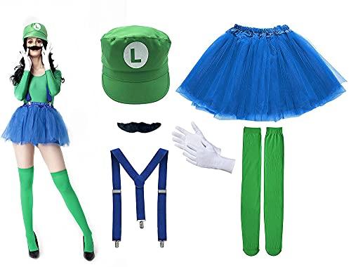 Disfraz de Super Mario Luigi, Gorra de fontanero Barba Negro Tirante Falda Calcetines, Traje Conjunto Classic para Mujer Carnaval y Cosplay, Color Verde
