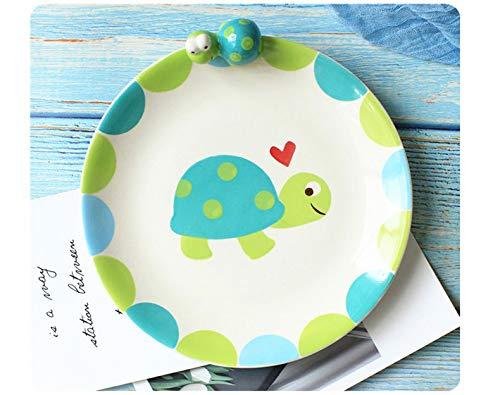 Tazón de vajilla de cerámica niños de dibujos animados taza de agua linda juego de desayuno plato de color bajo vidriado plato de postre de tortuga pequeña 20.3 * 2.5 cm