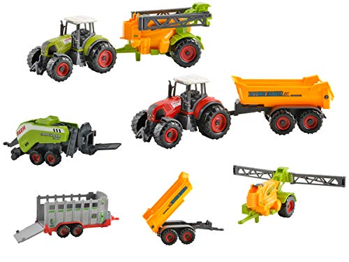 Iso Trade Farm Set 6 Teilig Landmaschinen Anhänger Kipper Heupresse Dünger Tiertransport 6136