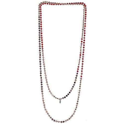 Collana KELITCH con Perline di Perline di Cristallo Annodato a Mano Collana Extra Lunga per Ragazze/Donne - A