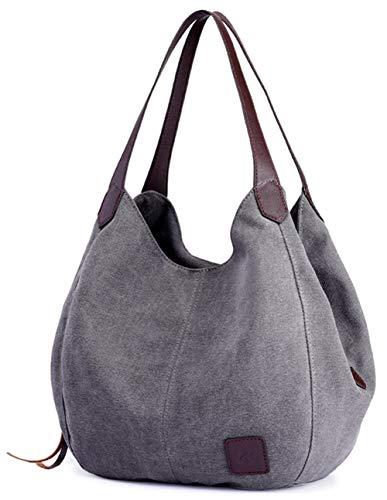 Maysurban Damen Handtasche Canvas Hobo Beuteltasche VintageSchultertasche Shopper für Alltag Grau