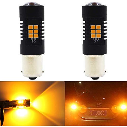Paquete 2 - 1056 BAU15S 7507 12496 5009 PY21W Luz LED ámbar / Amarilla Extremadamente Brillante, 10-30V-DC Bombillo Sustitución AMAZENAR 2835 21 SMD Bombillas de repuesto para luz intermitente Luces d