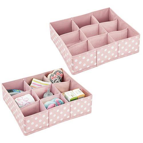 mDesign Juego de 2 Cajas de almacenaje para habitaciones infantiles o baños – Cestas organizadoras en fibra sintética de lunares – Organizadores de armarios con 9 compartimentos – rosa/blanco
