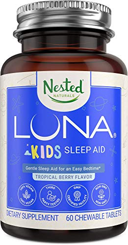 LUNA Kids | NEW LOOK | #1 Sleep Aid Tablets for Children & Sensitive Adults | Naturally Sourced Ingredients | Chewable Pills | Gentle Herbal Supplement with Chamomile, Melatonin, Valerian & Lemon Balm