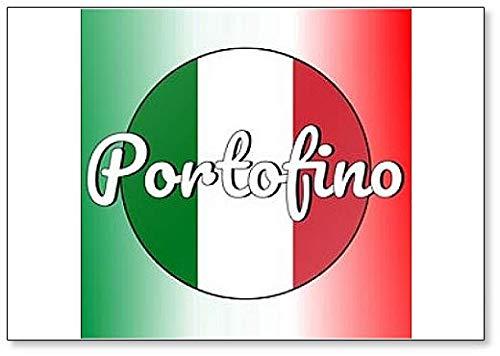 Calamita da frigorifero con bandiera nazionale dell'Italia e scritta in lingua inglese'Portofin'