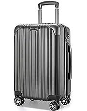 VARNIC スーツケース キャリーバッグ キャリーケース 機内持込 超軽量 大型 静音 ダブルキャスター 耐衝撃 360度回転 TSAローク搭載 ファスナー式 旅行 ビジネス 出張 (M サイズ(65L), 灰)