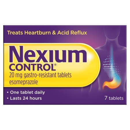 Nexium Control Heartburn and Acid Reflux Relief Tablets, 20mg Gastro-Resistant Esomeprazole - 7 Tablets