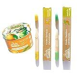 Cepillo de dientes de bambú orgánico para niños | Pasta de dientes natural en polvo | Fibra de seda suave | Mango 100% biodegradable | ecológicos, kit dental bio