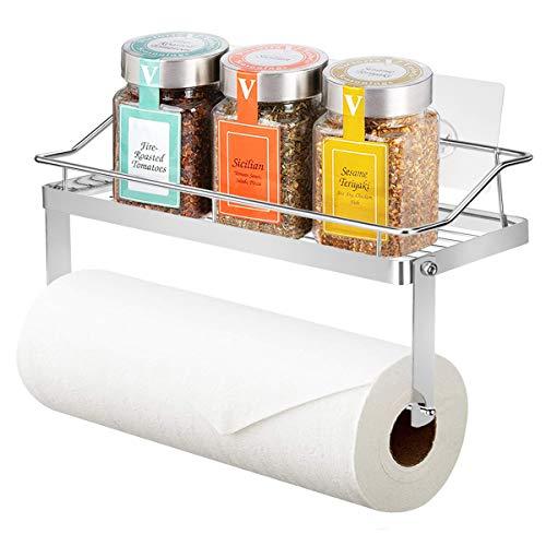 Queta Küchenrollenhalter Toilettenpapierhalter mit Regal Wand Papierrollenhalter für Küche, Toilette, Bad, Selbstklebend Ohne Bohren, aus Edelstahl (Halter mit Regal)