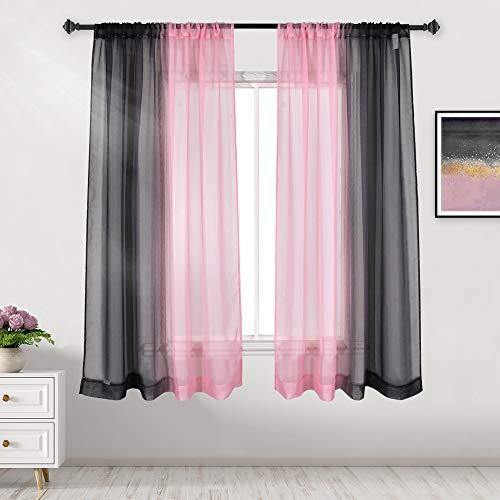 DECOVSUN Black Pink Ombre Sheer Curtains Reversible Sunshine Sheer Curtains for Bedroom Girls Room Decor Rod Pocket 2 Tone Ombre Sheer Curtains for Basement Wedding Background 2 Panels 52X63