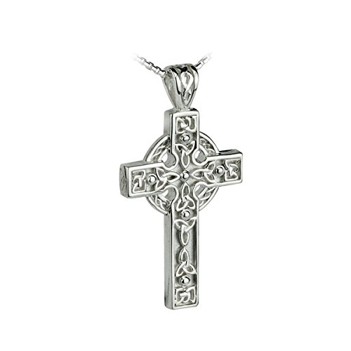 Failte Celtic Cross Necklace Sterling Silver Knot Design Made in Ireland
