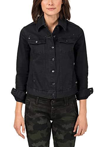 Timezone Damen Colored Denim Jacket Jeansjacke, Schwarz (Black 9999), 38 (Herstellergröße: M)