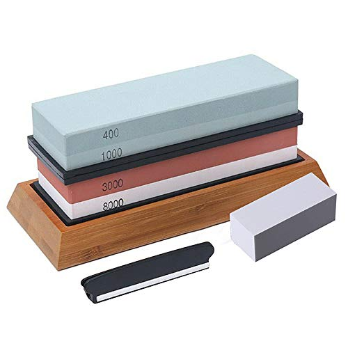 JR Whetstone Knife Sharpening Stone 4 Side Grit 400/1000, 3000/8000 Waterstone, Whetstone Knife Sharpener, NonSlip Bamboo Base and Angle Guide