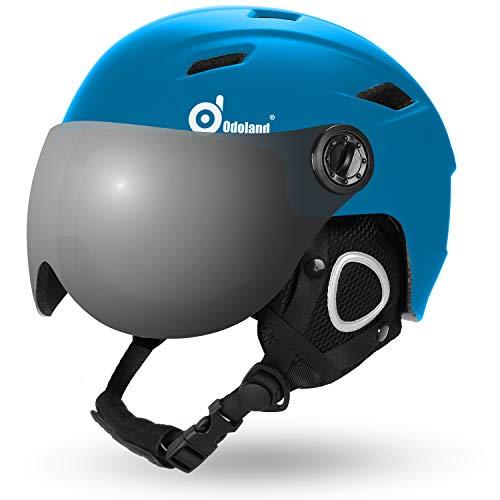 Odoland Skihelm Erwachsene mit Visier für Herren und Damen Leichter Race-Helm mit Helmvisier Snowboardhelm ASTM-Sicherheitszertifikat Dunkelblau M-54-56cm