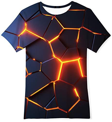 Goodstoworld Lave T-Shirts Fille Tee Shirt Enfants 3D Impression Manche Courte Garçons Tee Tos Lave 9-12 Ans